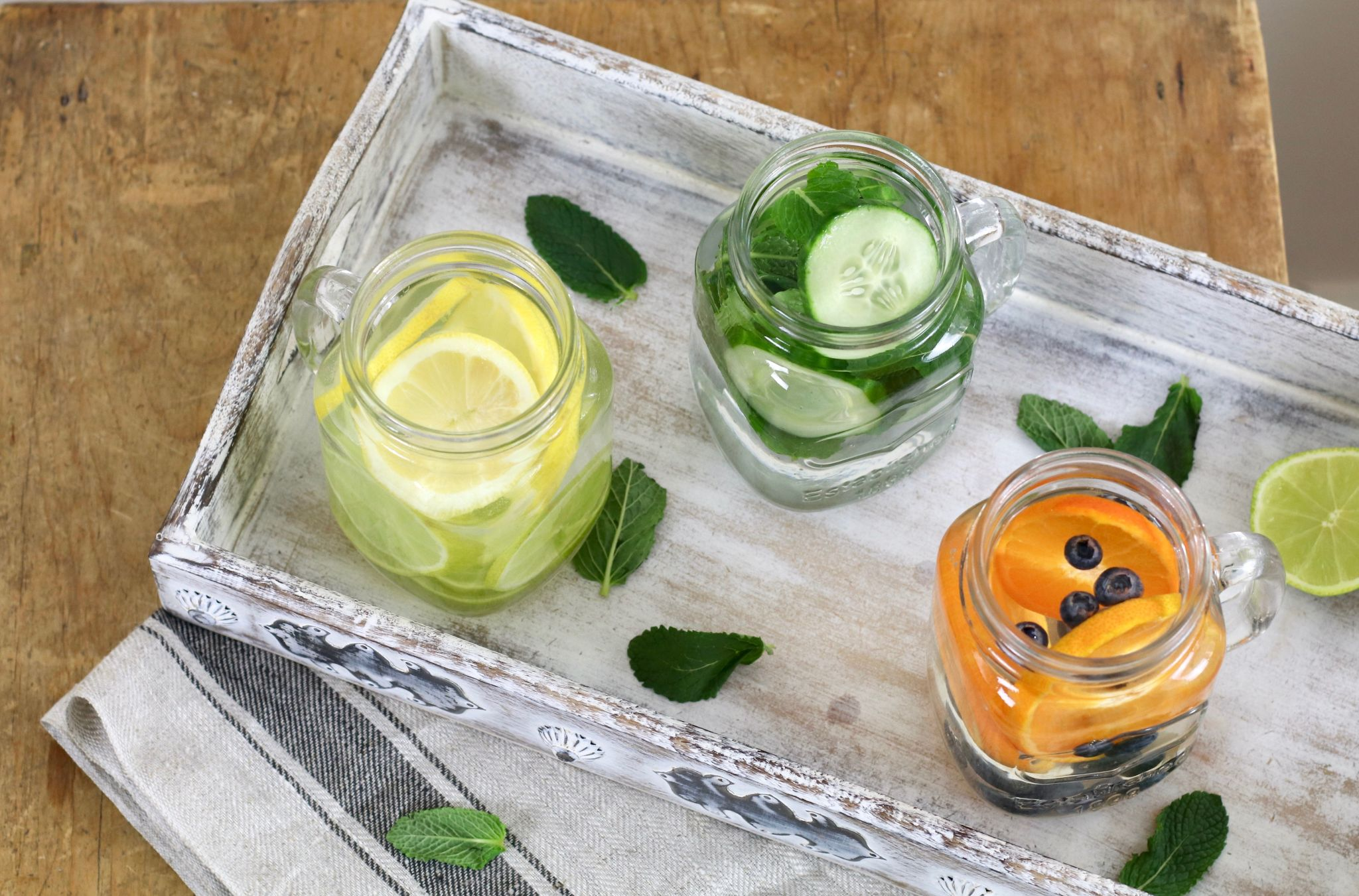 spruce up your water lemon lime orange cucumber mint