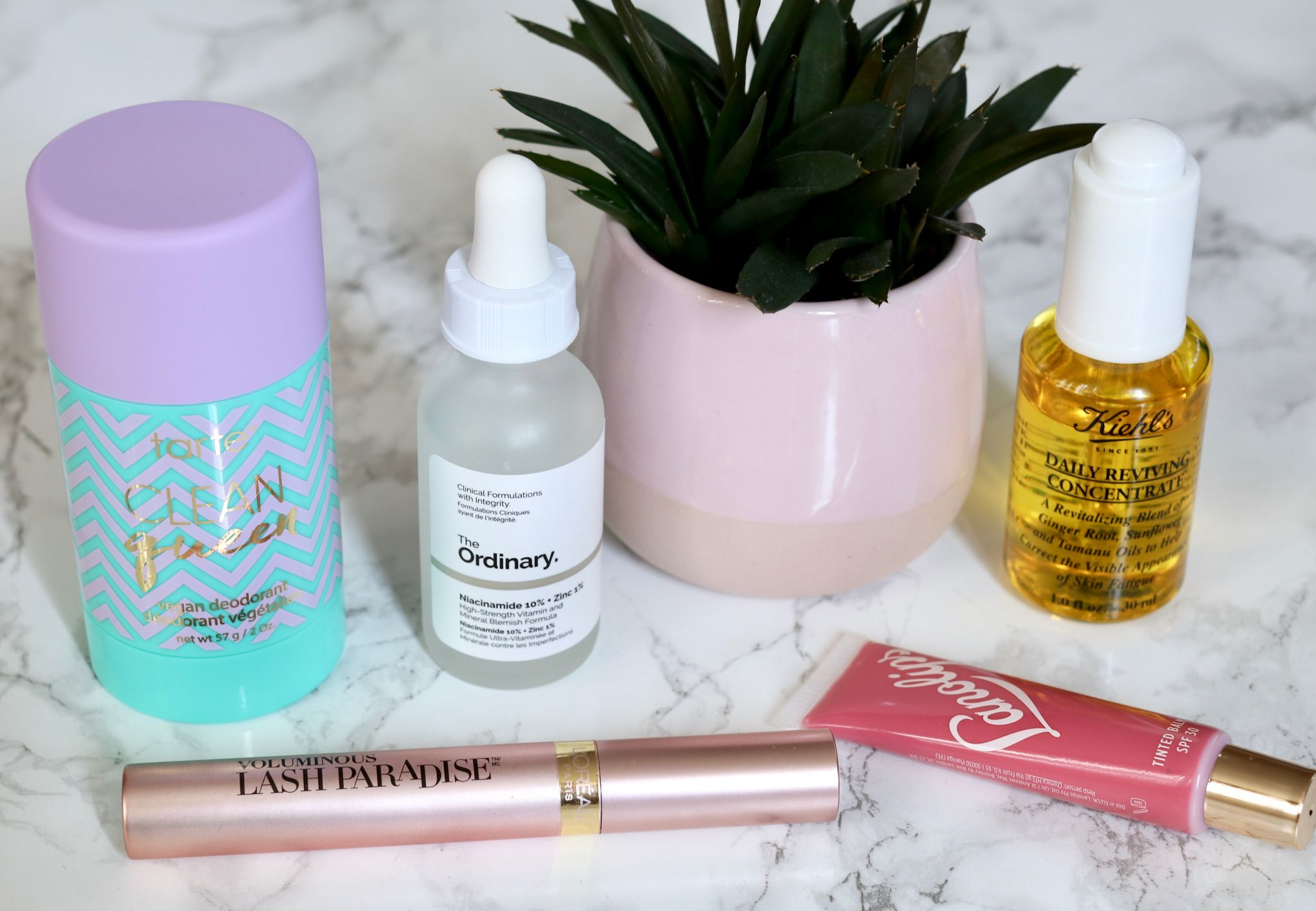 5 products to try kiehl's daily reviving concentrate oil Lanolips tinted lip balm rhubarb The ordinary niacinamide and zinc loreal lash paradise Tarte clean queen deodorant