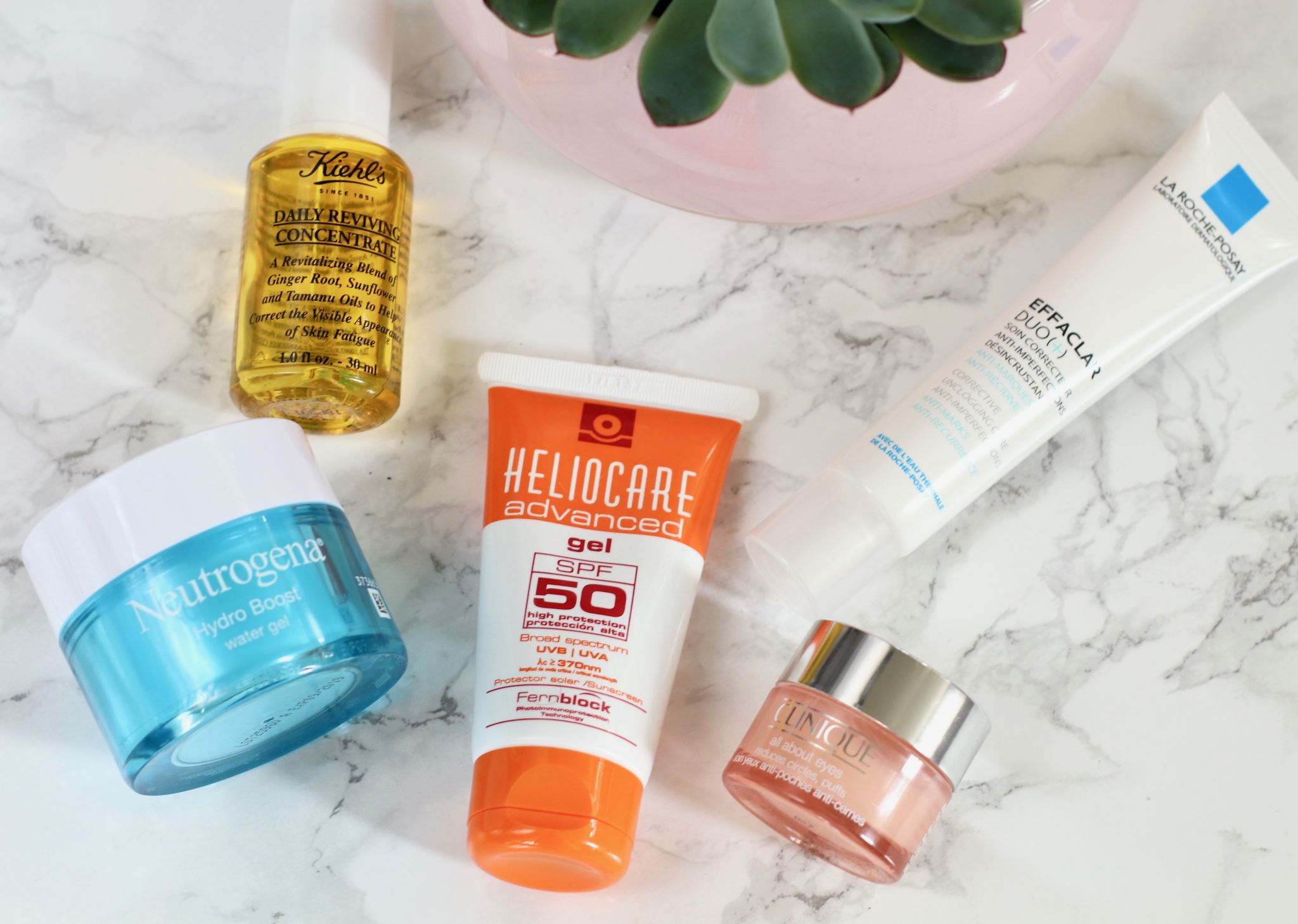 Morning skincare routine kiehls daily reviving concentrate neutrogena hydro boost water gel la roche-posey effaclar duo Heliocare spf 50 clinque all about eyes