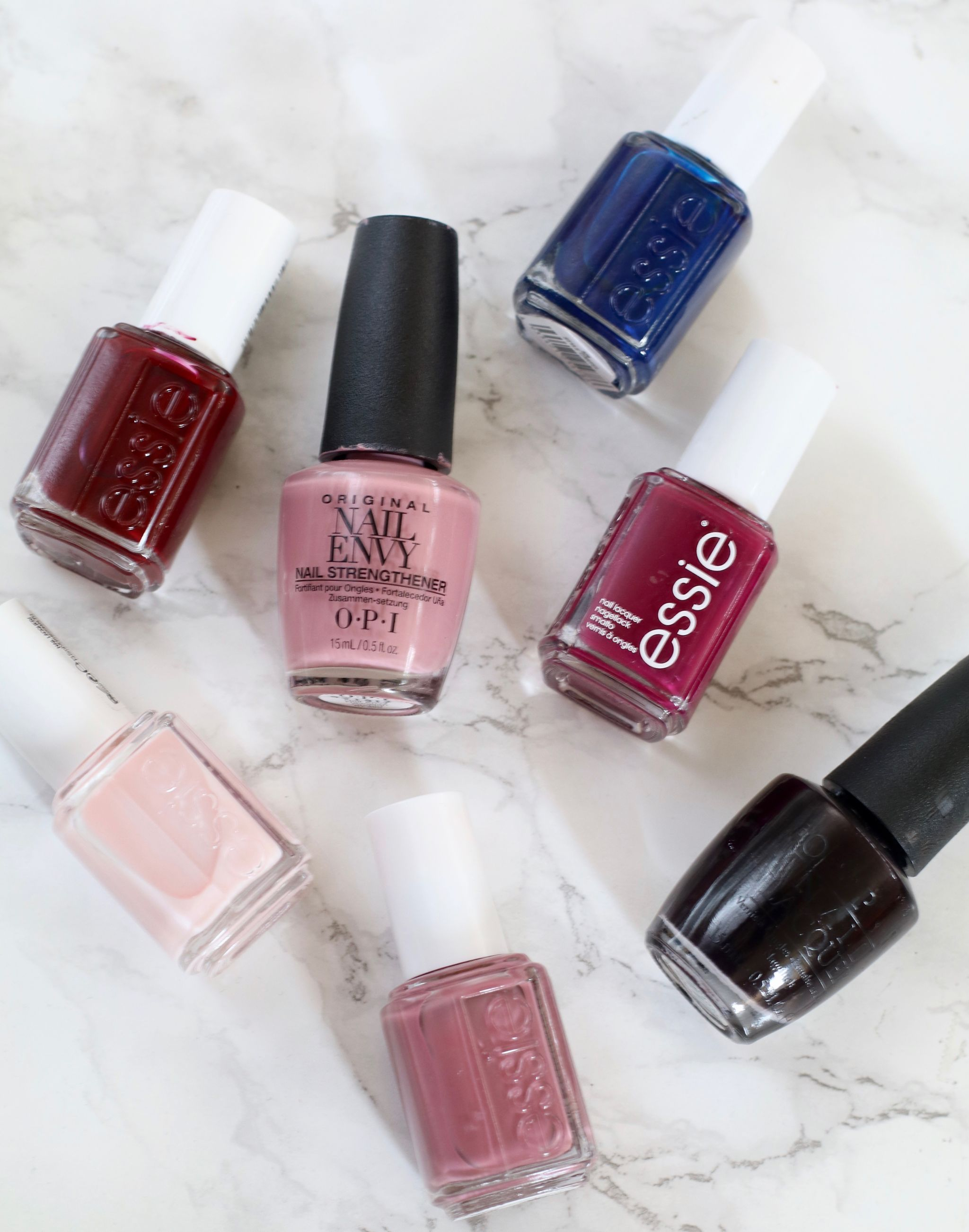 nail polish capsule collection - Essie Mademoiselle, Island hopping, style cartel, bahama mama, berry naughty, OPI nail envy hawaiian orchid, lincoln park after dark
