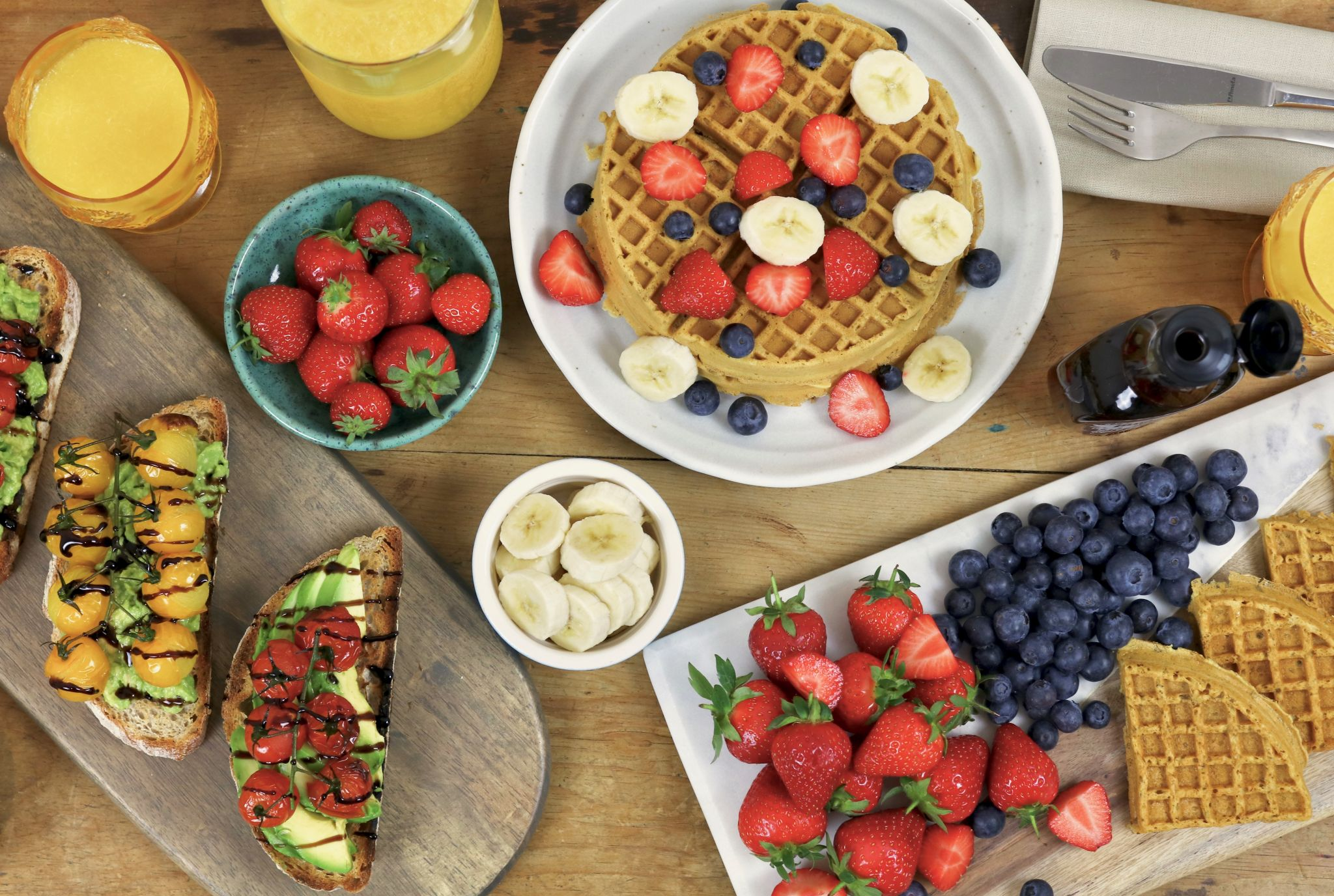Brunch club at home - waffles avocado toast fruit spread