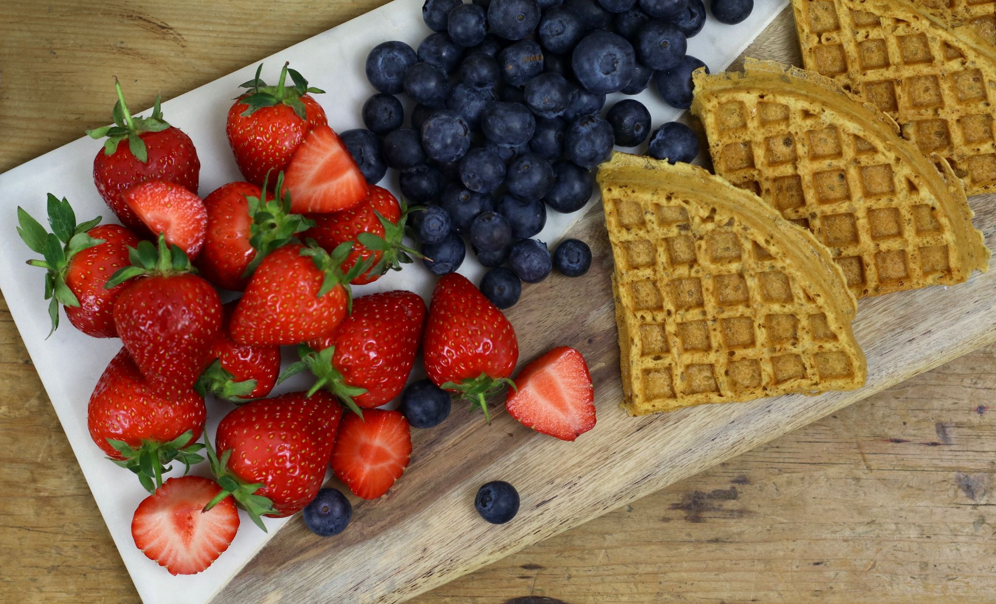 Brunch club at home waffles and fruit strawberries & blueberries