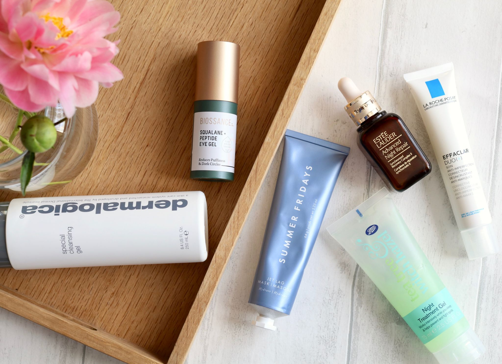 Evening skincare routine - Dermalogica special cleansing gel, Biossance eye gel, Estee Lauder advanced night repair, La Roche-Posay Effaclar duo, Summer Fridays jet lag mask, Boots tea tree night treatment gel