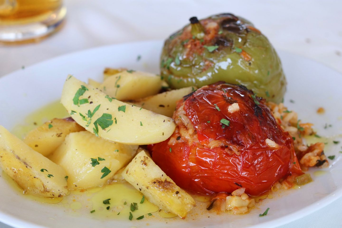 Casiopia Greek restaurant vegan option stuffed tomatoes and peppers | Corfu travel guide
