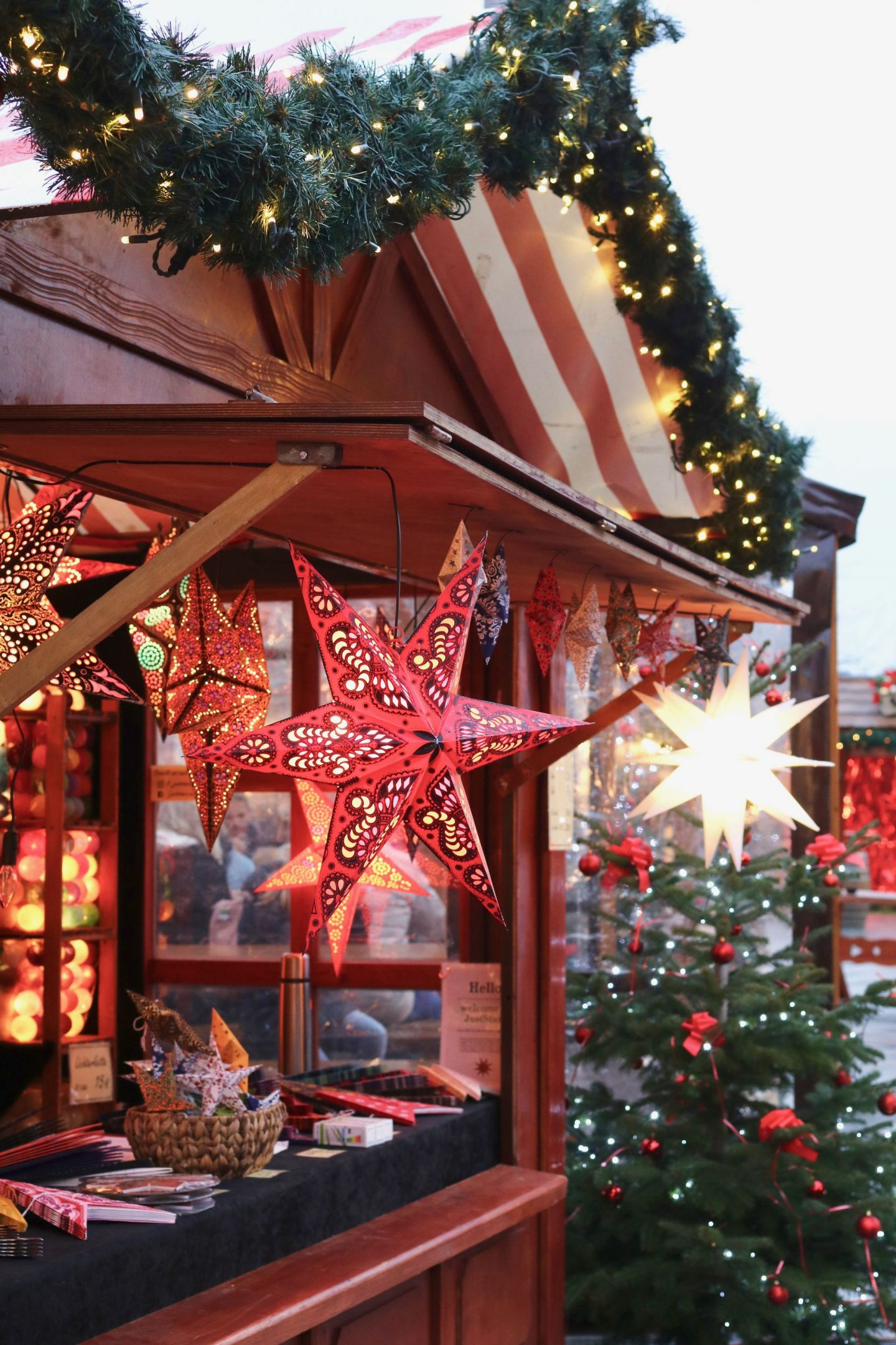 Berlin Christmas market at Alexanderplatz - paper stars cabin