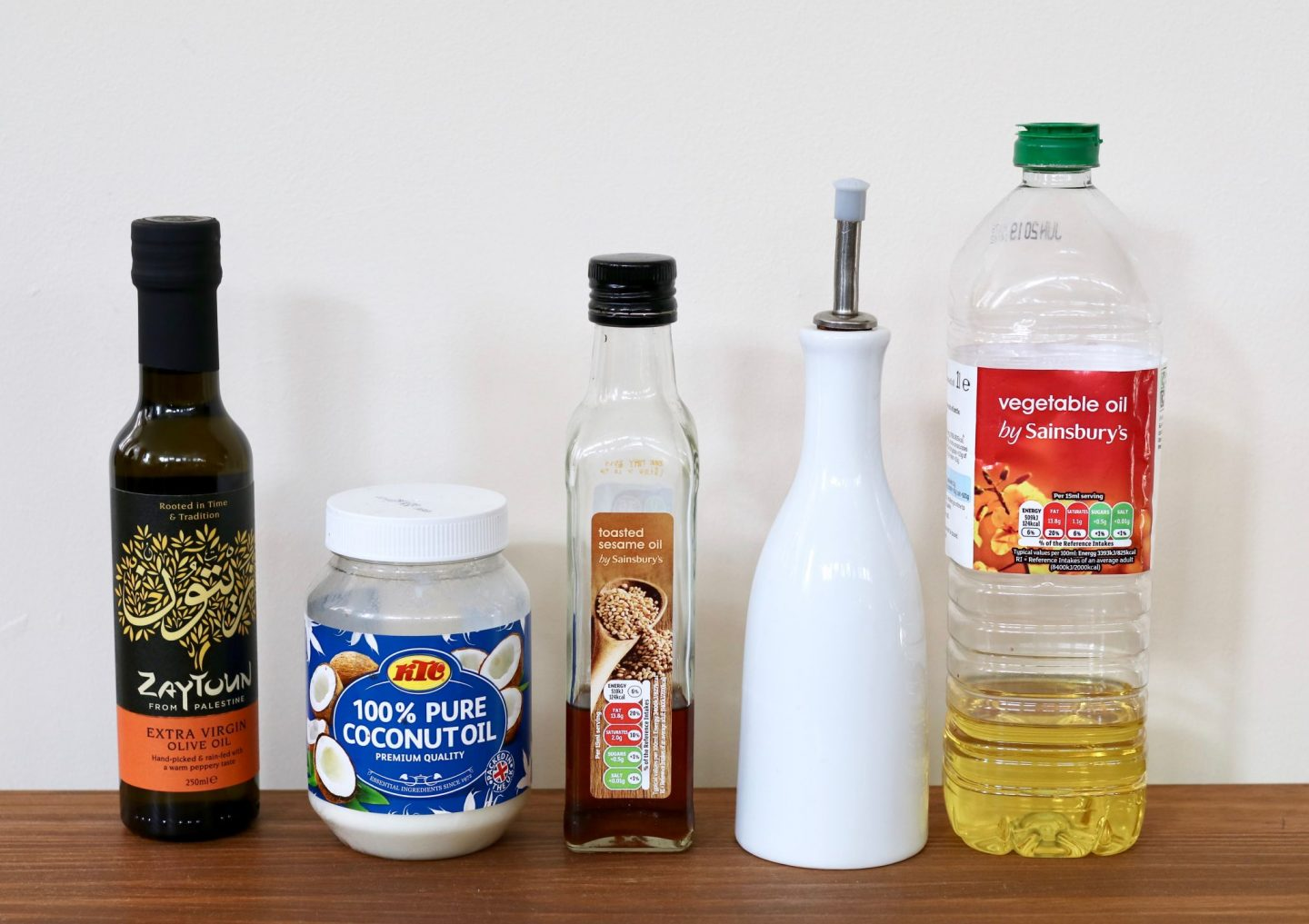 Vegan Kitchen basics #1: oils. Vegetable oil, olive oil, extra virgin olive oil, coconut oil, and sesame oil.